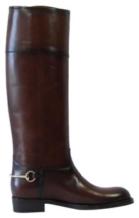 Gucci 338357 Womens Leather Brown Boots