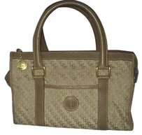 Gucci Vintage Leather Canvas Lv Gg Satchel in Brown