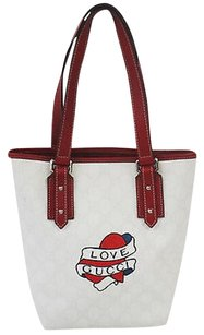 Gucci Love Heart Tattoo Bucket Handbag Tote in White & Red
