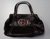 Gucci Dark Double G Leather 162094 W Hardware Hs Shoulder Bag