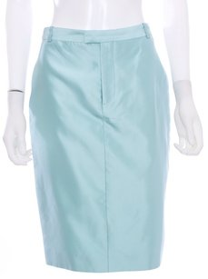 Gucci Silk Italy Lined Monogram Skirt Light Blue