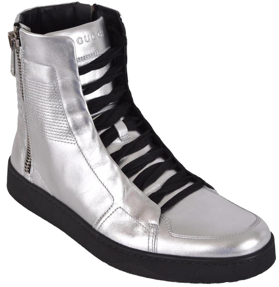 Sneakers high leather silver Gucci w080eFo