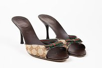 Gucci Brown Red Green Canvas Multi-Color Sandals
