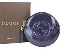 Gucci Soho Patent Leather Blue Clutch