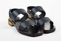 Gucci Leather Gold Tone Black Sandals