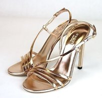Gucci Leather Copper Rose Sandals