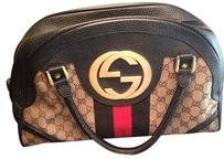 Gucci Trolley 114914 Satchel in Multi Blk-tan-red