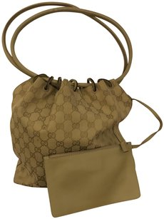 Gucci Monogrammed Canvas Satchel in light olive green