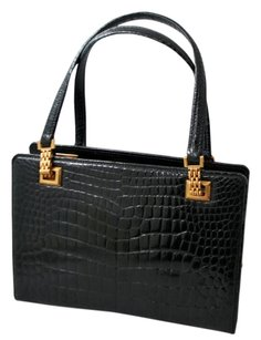 Gucci Vintage Evening Alligator Tote in Black