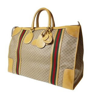 Gucci Vintage Gg Leather Monogram Striped Beige Travel Bag