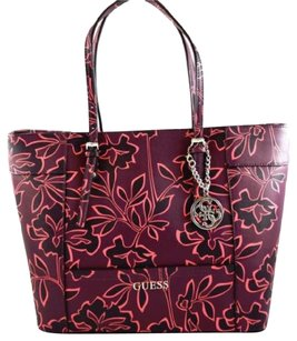 Guess Delaney Pink Floral Tote in Purple