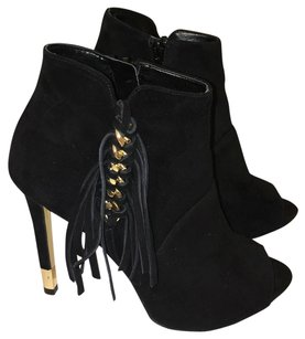 Guess By Marciano Fringe Peep Toe Suede Fringe Black Boots