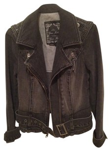 Guess Denim Studded Dark Blue Womens Jean Jacket
