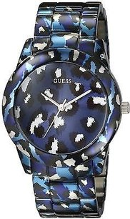 Guess Guess Blue Animal Print Bracelet Ladies Watch U0425l1