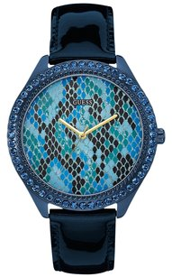 Guess GUESS Women's Blue Leather Strap Watch 44mm