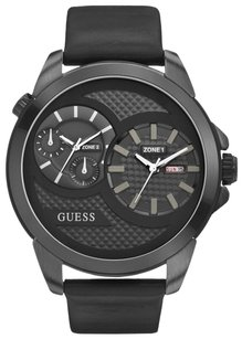 Guess Mens Watch GUESS THUNDER W0184G1 Dual Time Oversize Black