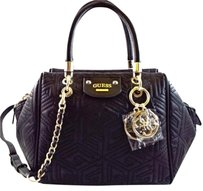 Guess G Cube Quilt Satchel in Black