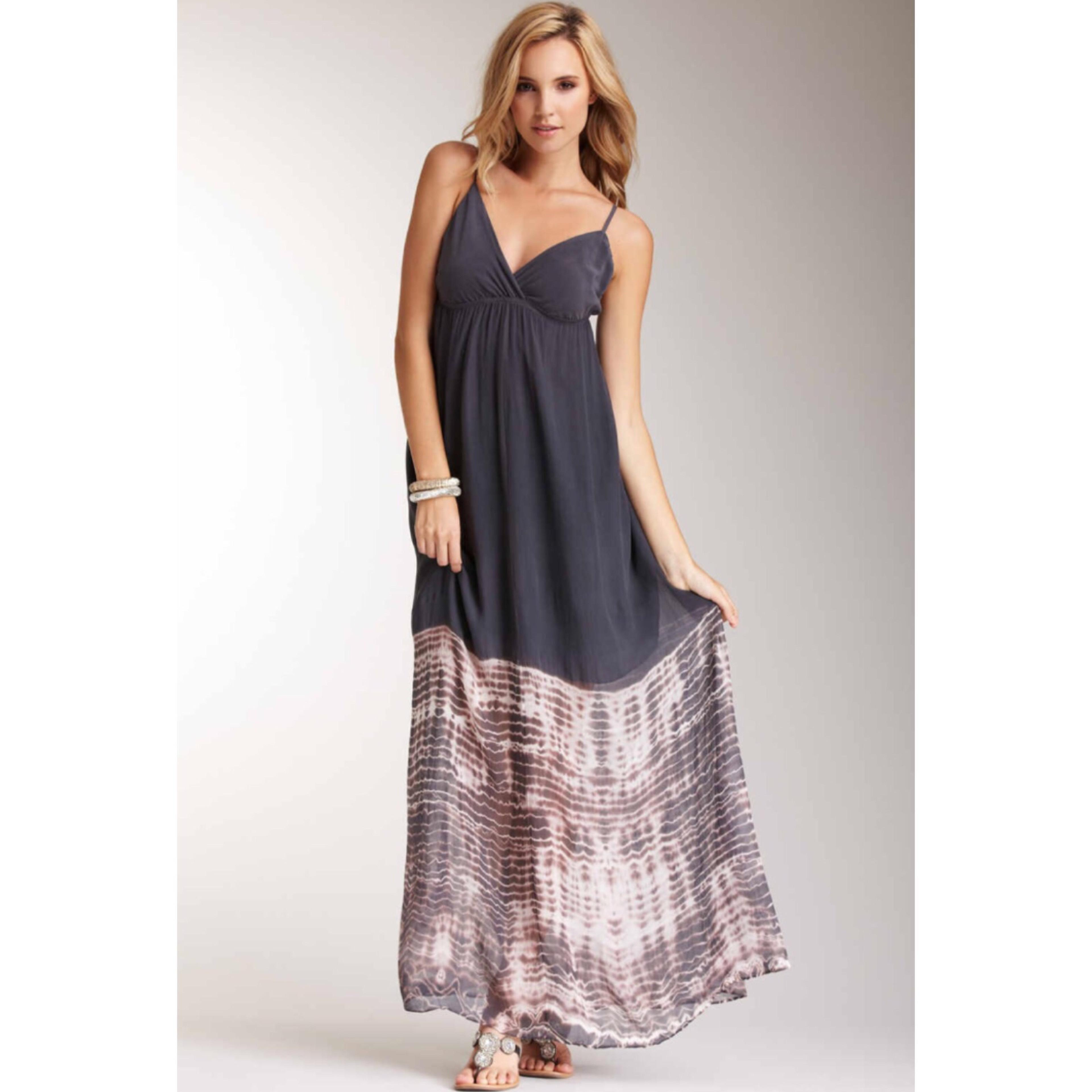 Charcoal Gypsy05 Talya Spaghetti Strap Silk Maxi Maxi Dress on Tradesy