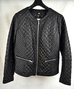 H&M Hm Quilted Faux Leather Motorcycle Jacket