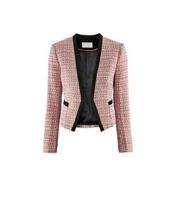 H&M TWEED BOUCLE BLACK TRIM ORANGE PINK BLAZER Blazer