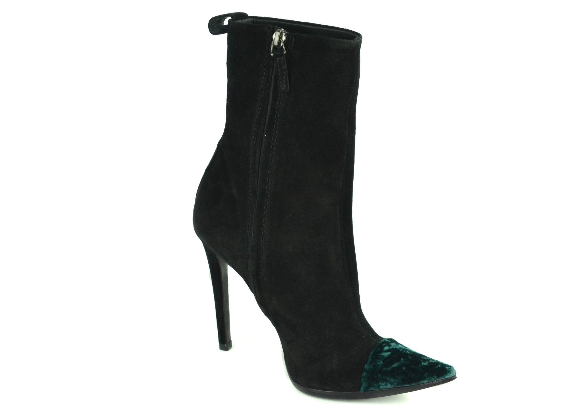 7d330e28f93e ... Haider Ackermann Black Women s Suede Green Cap Toe Toe Toe Ankle Boots Booties  Size US ...