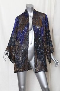 Halston Womens Vintage Beaded Multi-Color Jacket