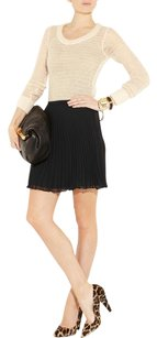 Halston Pleated Chiffon Classic Mini Chic Mini Skirt Black