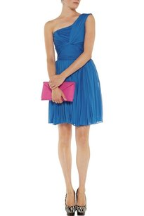 Halston Plisse One Shoulder Pleated Dress
