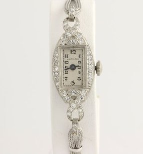 Hamilton Art Deco Diamond Womens Watch - Platinum Vintage Converted To Quartz .52ctw