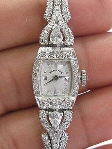 Hamilton Vintage Platinum Hamilton Diamond Watch 6.25 2.25ct