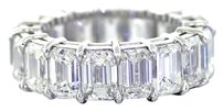 12.15ct Emerald Cut G VS2 Diamond Platinum Eternity Wedding Band Ring Size 6.5
