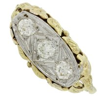 1920s Antique Art Deco 14k Yellow & White Gold EGL Certified Diamond Anniversary Wedding Ring
