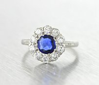 1940s Antique Art Deco Platinum 1.45ctw Sapphire & Diamond Engagement Ring Size 5.5