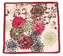 Large Square Silk Twill Scarf Maroon theme with chrysanthemum flower print Red Yellow Grey pink with hand-rolled hem 36