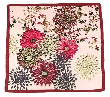 Preload https://item1.tradesy.com/images/handmade-large-square-silk-twill-scarf-maroon-theme-with-chrysanthemum-flower-print-red-yellow-grey-pink-with-hand-rolled-hem-36-x-36-90x90cm-3069100-0-0.jpg?width=440&height=440