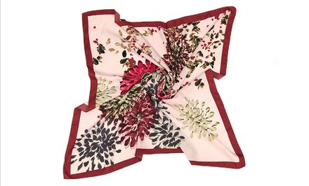 """Other Large Square Silk Twill Scarf Maroon theme with chrysanthemum flower print Red Yellow Grey pink with hand-rolled hem 36"""" x 36"""" (90x90cm)"""