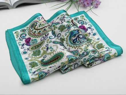 Other Medium Square Silk Scarf Twill, Blue Paisley Pattern Scarf, Digitally Painted with Hand Rolled Hem - 21