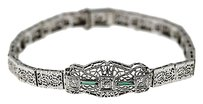 Vintage,Art,Deco,14k,White,Gold,.25ctw,Diamond,Emerald,Bracelet,10.2grams,7,