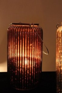 10 Hanging Mercury Glass Lantern Brown Tall