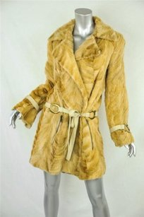 Haute Hippie Womens Tan Genuine Fur Coat