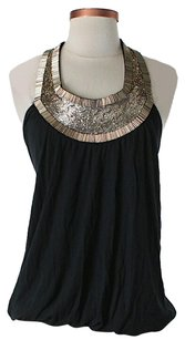 Haute Hippie Beaded Embellished Halter Top Black