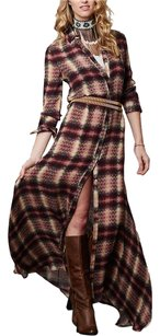 Red Beige Multi Maxi Dress by Haute Hippie Chevron Plaid