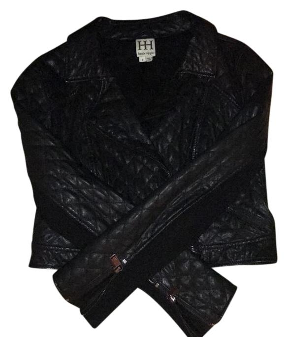Haute Hippie Black Leather Motorcycle Jacket Size 6 S