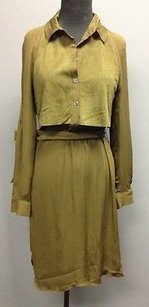 Haute Hippie short dress Gray Olive Silk Suede Belted Button Up 1027 A on Tradesy