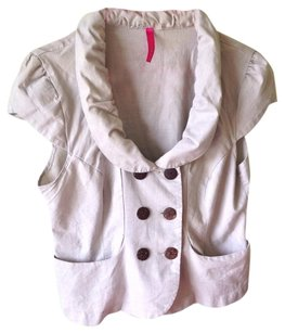 Heart Soul Peplum Linen Button Pockets Khaki Blazer