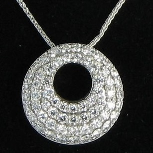 Hearts on Fire Hearts On Fire 18k Wg Silk Pave Circle Pendant 20 Necklace 0.97ctw Nwot
