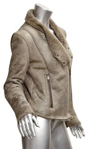 Helmut Lang Womens Distressed Shearling Moto Leather Coat Gray Jacket