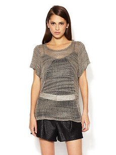 Helmut Lang Marled Viscose Open Knit Short Sleeve Sweater