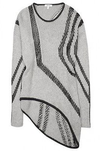 Helmut Lang Black White Silk Wool Intarsia Asymmetrical Knit Sweater