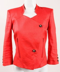 Helmut Lang Helmut Lang Orange Red Linen Structured Quarter Sleeve Button Blazer Jacket